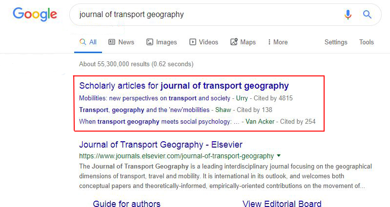 online journal search result